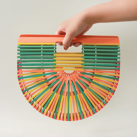 Rainbow Half Moon Bamboo Bag - Waakiki
