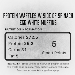Protein Waffles w/ side of two egg white + spinach muffins | LEAN BEASTRO