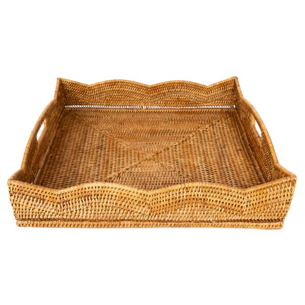 Rattan Scallop Square Tray