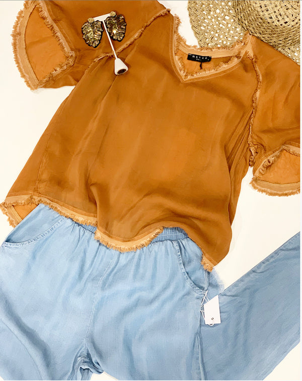 V-Neck Fray Top - Copper
