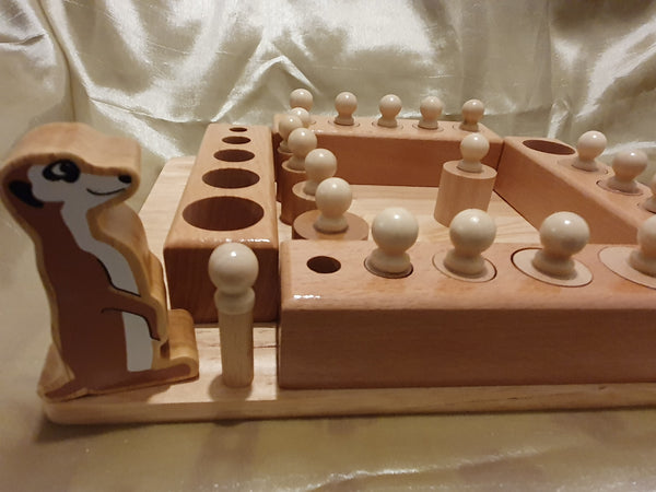 Meerkat Wooden Montessori base Educational toy Learn Cylinder Blocks