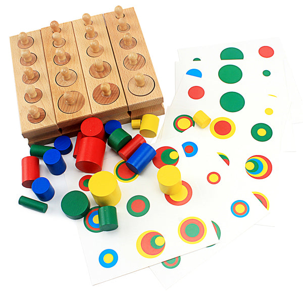 Wooden Cylinder Block Set Toys Colorful Socket  For Children Educational Preschool Early Learning Toy