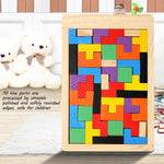 Baby Wooden Tetris Puzzle Toy Colourful Jigsaw Board for Kids
