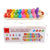 Educational Caterpillar Wooden  Counting numbers Matching Shape to colours