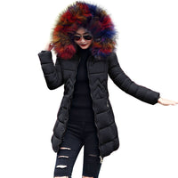 Winter Coat Parka Style with fake fur in Stylish colours of White, beige, flower, Gray or black
