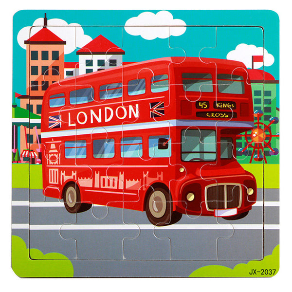 Wooden  London Bus Jigsaw Toy For Kids Educational Learning Puzzles