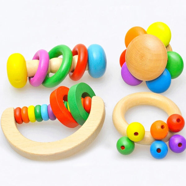 Wooden Baby Rattles Grasp Play Game Teething Infant Early Musical Educational Toys  Newborn 1 years birthday Gift