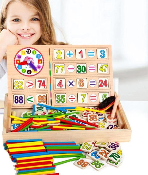 Wooden Number Counting Mathematics Calculate Game Toy Educational Teaching Box Set Children