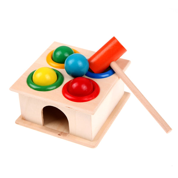 Wooden Hammering colour Ball Hammer Box toy for Children