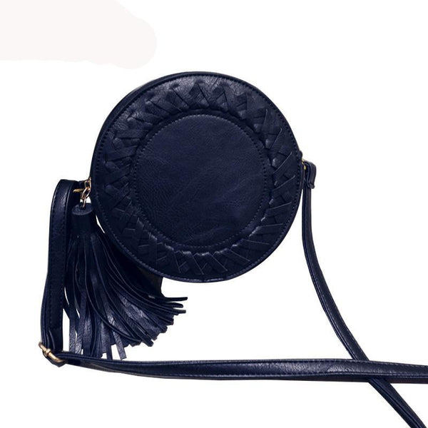 Tassel Bag Woven Crossbody Bags Shoulder Bag Ladies Cute Knitting Circular Messenger Bags
