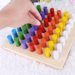 Montessori Wooden Math Toys Colorful Cylinder Socket Blocks Toy Set