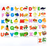 ABC Alphabet Letters  Cards Educational Toys for Kids Fruit Vegetable Puzzle