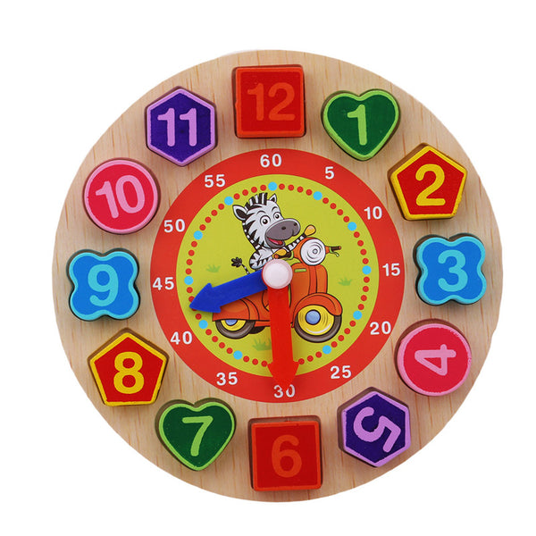A Wooden Toy clock learning time Colourful 12 Numbers with animal image