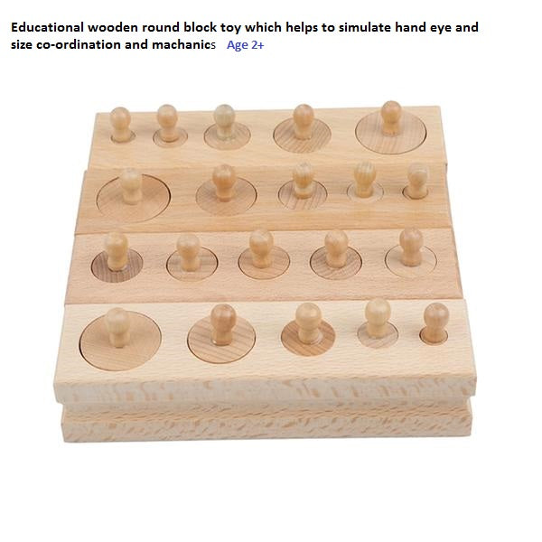 Wooden Toys For Children Cylinder Socket Blocks Toy Baby Development Practice And Senses