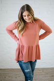 Cora Hooded Peplum in Salmon