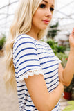Sails To The Wind Top In Ivory & Blue