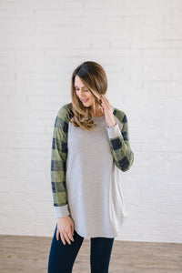 The Cooper Casual Top in Green & Gray