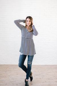 The Sailor Striped Peplum in Black & White