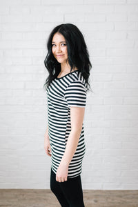 The Stacy Striped Dress in Black & White