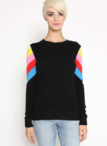 Cashmere Striped Shoulder L/S Crew