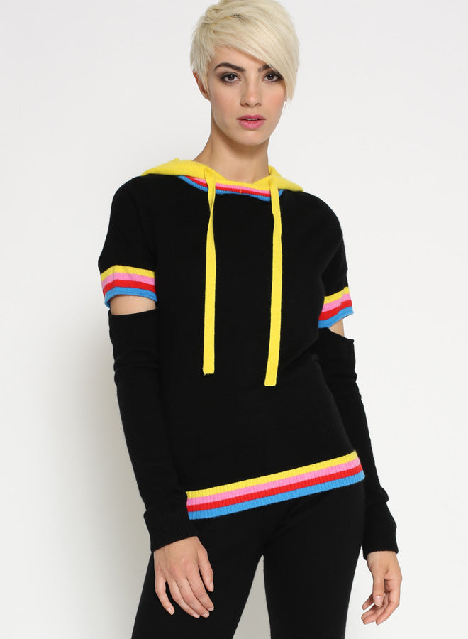 CASHMERE STRIPE CUT OUT HOODIE