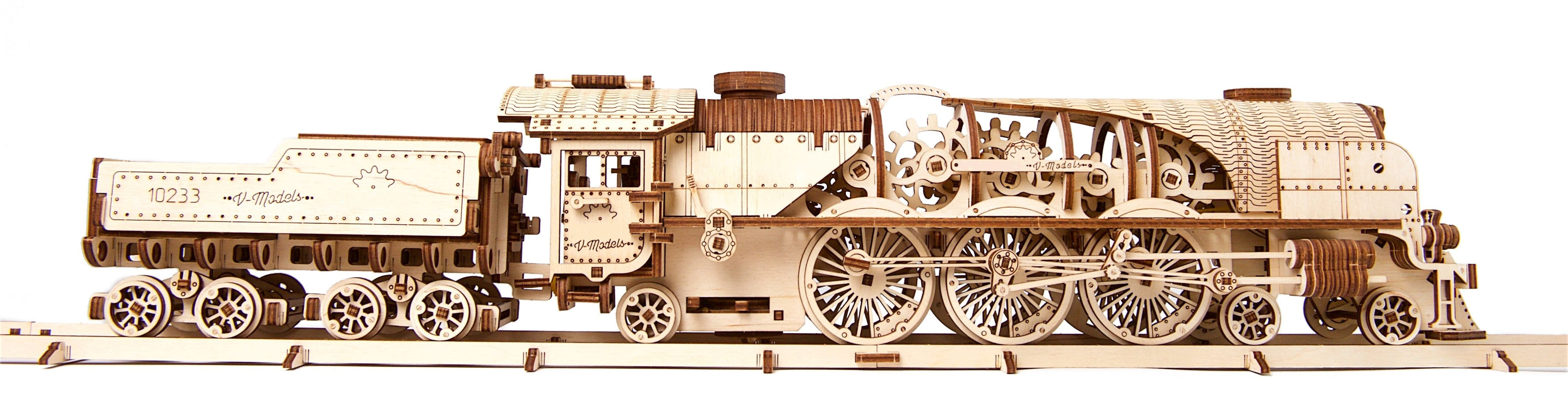 Wooden Mechanical 3D Puzzle Steam Locomotive Model Kit Fuego Cloud
