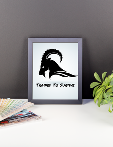 "Original Survival Wall Art- Mountain Ram ""Trained To Survive"""