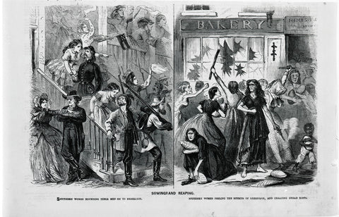 Gaunt, hungry women (at right)—several wielding clubs, another a smoking pistol—take to the streets of Richmond, Virginia, on April 2, 1863