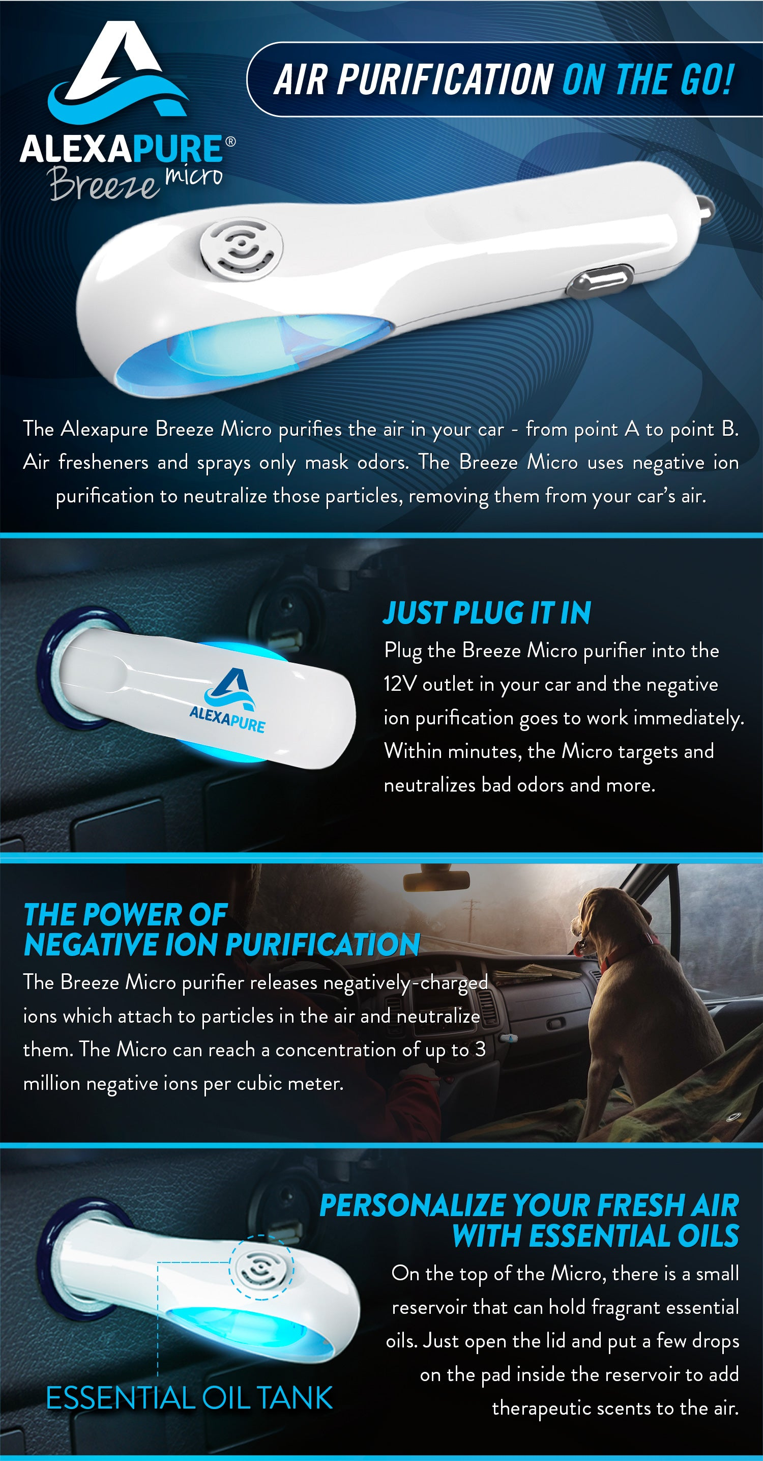 AIR PURIFICATION ON THE GO  The Alexapure Breeze Micro purifies the air in your car - from point A to point B. Air fresheners and sprays only mask odors. The Breeze Micro uses negative ion purification to neutralize those particles, removing them from your car's air.  Plug the Breeze Micro purifier into the 12V outlet in your car and the negative ion purification goes to work immediately. Within minutes, the Micro targets and neutralizes bad odors and more.  THE POWER OF NEGATIVE ION PURIFICATION  The Breeze Micro purifier releases negatively-charged ions which attach to particles in the air and neutralize them. The Micro can reach a concentration of up to 3 million negative ions per cubic meter.  PERSONALIZE YOUR FRESH AIR WITH ESSENTIAL OILS  On the top of the Micro, there is a small reservoir that can hold fragrant essential oils. Just open the lid and put a few drops on the pad inside the reservoir to add therapeutic scents to the air.