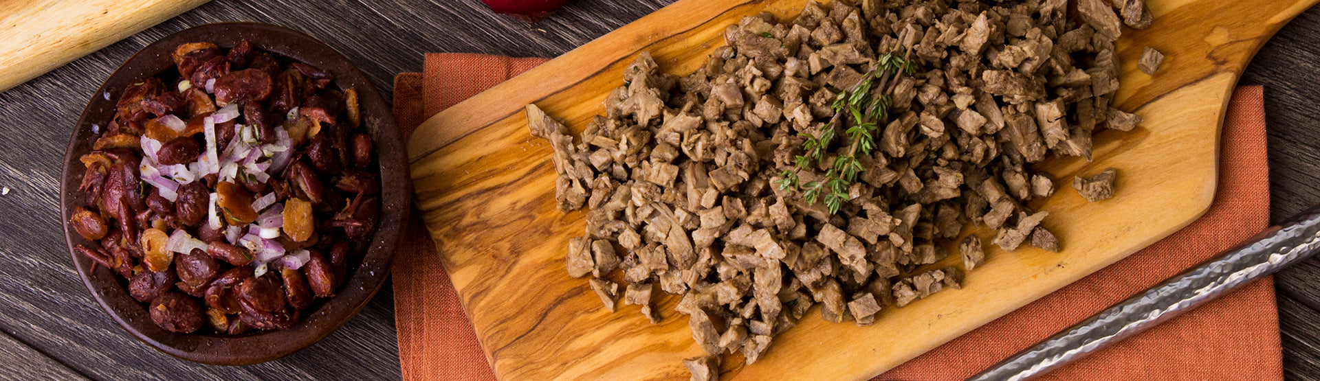 Meat & Protein Kits - Beans and Beef on cutting board