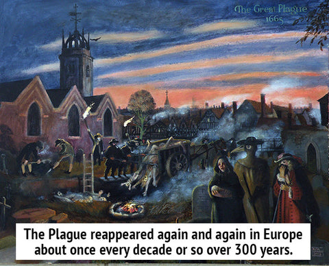 The Plague reappeared again and again in Europe about once every decade or so over 300 years.