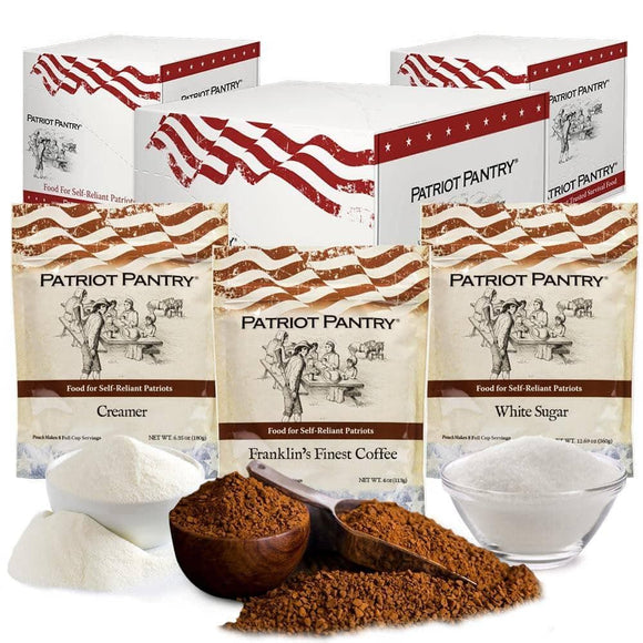 Coffee Trio Case Pack Kit - Coffee, Creamer, Sugar (3 case packs, 16 pouches) - My Patriot Supply