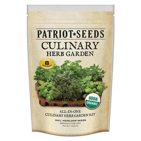 Organic Culinary Herb Garden Seed Kit (8 packets inside) - My Patriot Supply