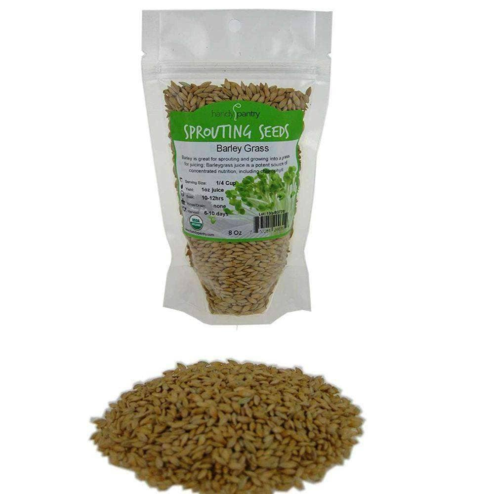 Organic Barley Grass Sprouting Seeds 8 Ounce Pack Handy