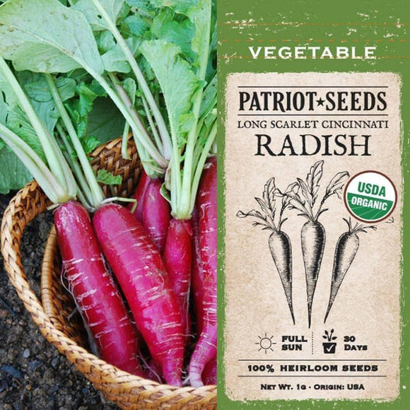 Organic Long Scarlet Cincinnati Radish Seeds (1g) - My Patriot Supply