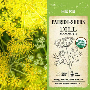 Organic Dill Mammoth Herb Seeds (500mg) - My Patriot Supply