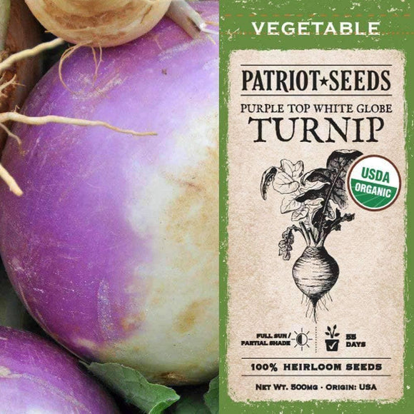 Organic Purple Top White Globe Turnip Seeds (500mg)