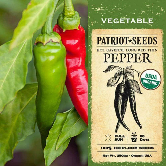 Organic Hot Cayenne Long Red Thin Pepper Seeds (250mg)