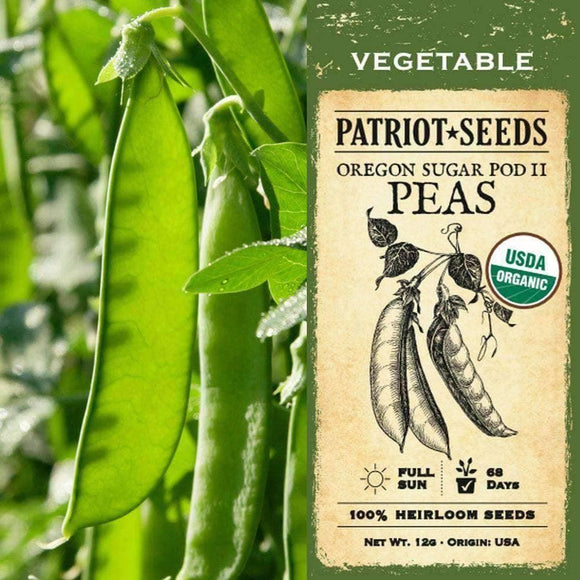 Organic Oregon Sugar Pod II Pea Seeds (12g)