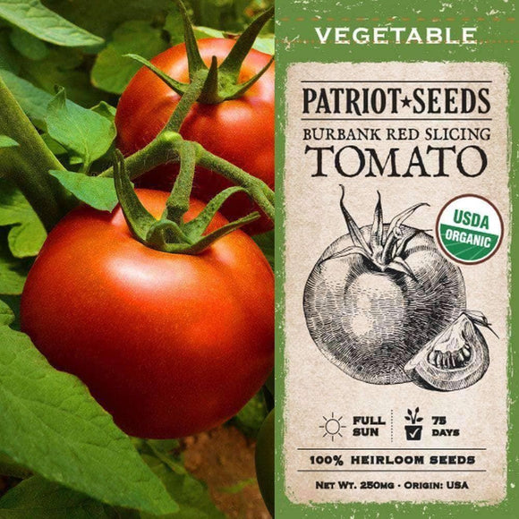 Organic Burbank Red Slicing Tomato Seeds (250mg) - My Patriot Supply