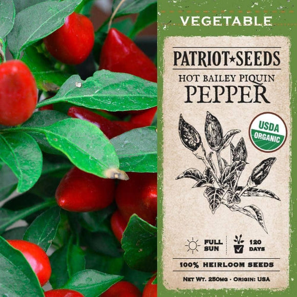 Organic Bailey Pequin Hot Pepper Seeds (250mg) - My Patriot Supply