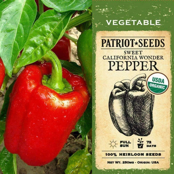 Organic California Wonder Sweet Pepper Seeds (250mg)