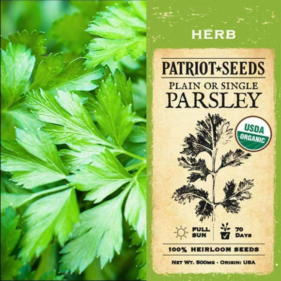Organic Plain or Single Parsley Herb Seeds (500mg) - My Patriot Supply