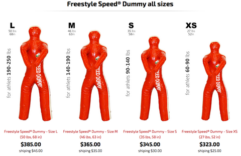 Freestyle Speed Dummies in size order from large to extra small