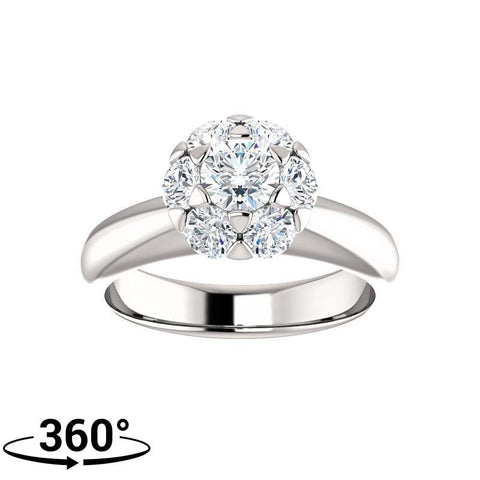 Giacobbe & Company 1-1/10 Carat Round Cut Floral-Inspired Halo-Style Engagement Ring in 14K White Gold