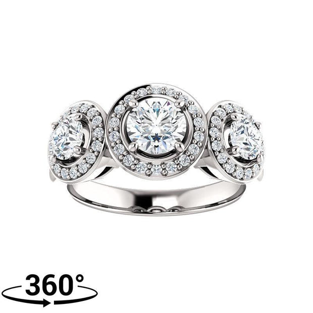 Giacobbe & Company 1-1/2 Carat Round Cut Triple Halo-Style Engagement Ring in 14K White Gold