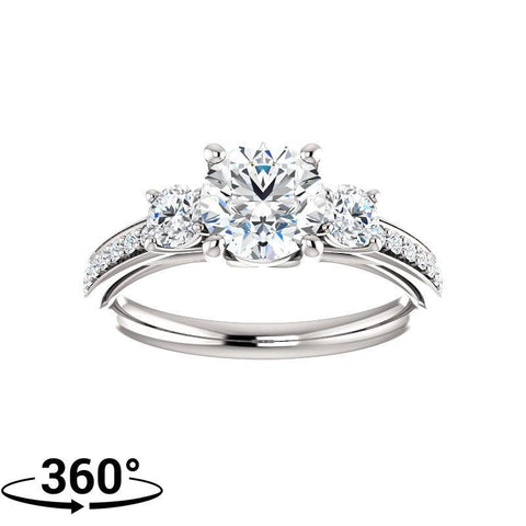 Giacobbe & Company 1-1/2 Carat Round Three Stone Trellis-Style Engagement Ring in 14K White Gold