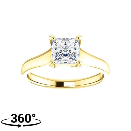 Giacobbe & Company 1-1/4 Carat Woven Cathedral Princess Cut Engagement Ring in 14K Yellow Gold