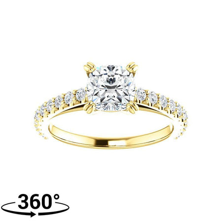 Giacobbe & Company 1-3/8 Carat Cushion Cut Engagement Ring in 14K Yellow Gold