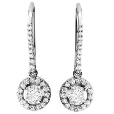 Giacobbe & Company 1.30 CTW VS1/G DIAMOND HALO DESIGN BISHOP HOOP DANGLE EARRINGS 14K WHITE GOLD